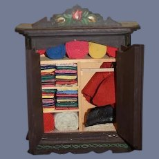 Vintage Doll Wardrobe Tole Painted Filled W/ Sewing Materials Dollhouse