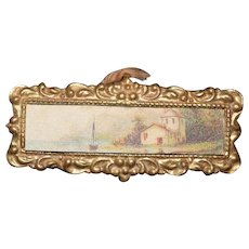 Old Doll Gilt Ornate Frame W/ Old Print Dollhouse Miniature