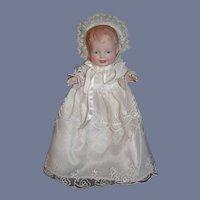 Antique Doll Wonderful All Bisque Small Bonnie Babe Glass Eyes 6 1/2""