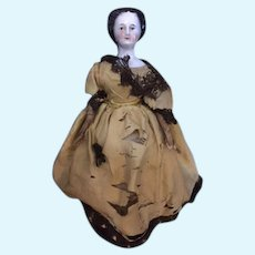 Antique Autoperipatetikos Waterfall Hairstyle China Head Walking Mechanical Key Wind up Doll Kloster Veilsdorf Works!