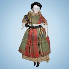 Antique China Head Doll Miniature Dollhouse Wonderful Old Clothes