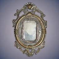 Antique Doll Miniature Ornate Frame W/ Unusual Lock In Back Dollhouse Painting Religious Icon
