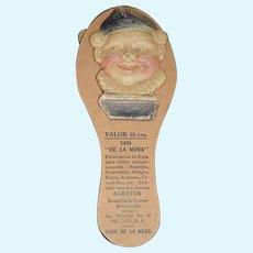 """Old Papier Mache & Paper Jester Clapper Noise Maker Wonderful For Doll """"DE LA MORA"""""""