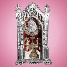 Old Doll Miniature Metal Alter Religious Icon W/ Priest Wonderful Dollhouse German