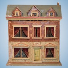 Antique Doll Dollhouse Miniature Wood and Litho Large W/ Dormer Windows