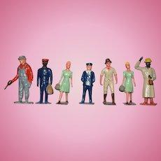 Vintage Doll Lot English Lead Figures Miniature Dollhouse
