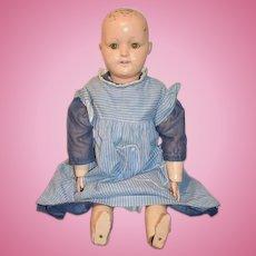 "Old Doll Unusual Papier Mache Head Tin Eyes Wood Body 24"" Tall"