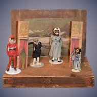 Antique Doll Wood Theater Miniature W/ Dolls and Accessories Wonderful Old Stage and Great Characters Punch and Judy