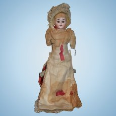 Antique Doll Unusual Topsy Turvy White Bisque Doll & Black Papier Mache W/ Molded Bonnet