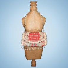 Antique Doll Beaded Souvenir Purse For Doll Wonderful Design Fancy Bird Design