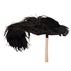 Wonderful Doll Hat For French Fashion Feather Bow Velvet & Lace Bonnet