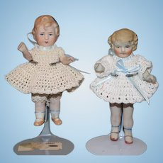 Antique Doll Two All Bisque Dolls Miniature Jointed Dollhouse Sisters