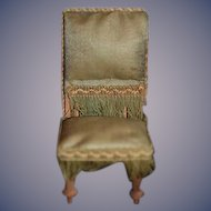 Old Doll Miniature Dollhouse Chair Upholstered W/ Fringe Side Chair Desk Chair