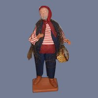 Vintage Terra Cotta Doll Figurine Claude Carbonel Fisherman Character