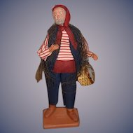Vintage Terra Cotta Doll Figurine Claude Carbonel Fisherman Character