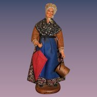 Vintage Doll Terra Cotta Maurisu Chave Figurine Lady W/ Bucket and Parasol