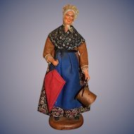 Vintage Doll Terra Cotta Maurisu Chave Figurine Lady W/ Bucket and Parasol