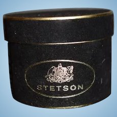 Vintage Miniature Stetson Velvet Doll Hat Box W/ Three Hats