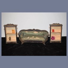 Antique Doll Miniature Dollhouse Wood Waltershausen Matching Book Case and Sofa Cabinets