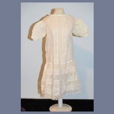 Antique Doll Dress Drop Waist Lace Sweet