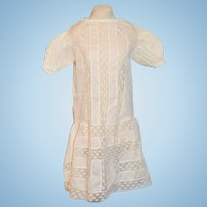 Antique Doll Dress Drop Waist Lace Sweet