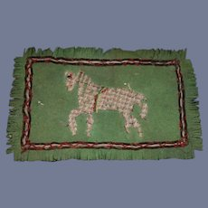 Old Doll Hand Made Rug Dollhouse Miniature With Stitched Horse Needlework