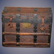 Antique Doll Trunk Leather Wood Metal Dome WONDERFUL for French Fashion