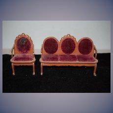 Wonderful Old Doll Parlor Set Miniature Dollhouse Settee Chair Sofa Velvet Upholstery