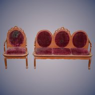Wonderful Old Doll Parlor Set Miniature Dollhouse Settee Chair Sofa Velvet Upholstery