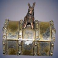 Wonderful Doll Miniature Trunk W/ Rabbit On Top Hinged