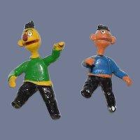 Vintage Artist Miniature Doll Set Dollhouse Bert and Ernie From Sesame Street