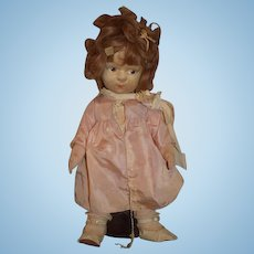 Old Doll Cloth Doll Painted Features Jointed Unusual