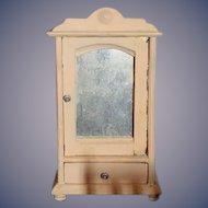 Sweet Old Doll Wood Miniature Wardrobe W/ Mirror Front Door Dollhouse
