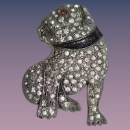 Old Dog Chrome Metal Rhinestone Bulldog Brooch Pin Bull Dog