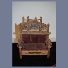 Old Doll Miniature Upholstered Sofa W/ Mirror On Back Fancy Dollhouse