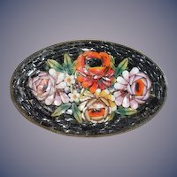 Old Wonderful Mosaic Italian Brooch Vivid W/ Flowers Pin