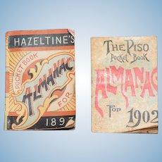 Antique Doll Miniature 1893 Hazeltine's Almanac & The Piso Pocket Book Almanac 1902 Book