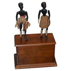Antique Doll Dancing Dolls Mechanical Wind Up Black Wood Carved Automaton Adorable Folk Art
