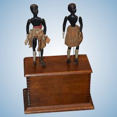 Antique Doll Dancing Dolls Mechanical Wind Up Black Wood Carved Automaton Adorable Folk Art