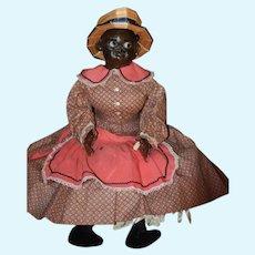 Old Doll Mary McEwen Doll Black Glass Eye Wax Doll Wonderful W/ Dress and Hat