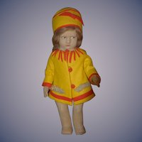 Old Italian Lenci Doll Cloth Doll Felt Doll Wonderful 300 Series Signed On Feet