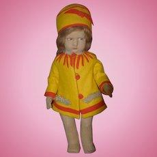 Old Italian Lenci Doll Cloth Doll Felt Doll Wonderful 300 Series Signed On Feet