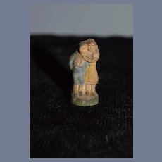 Old Doll Miniature Terra Cotta Figurine For Dollhouse Two Children