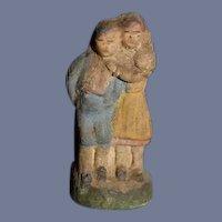 Old Doll Miniature Terra Cotta Figurine For Dollhouse Two Children