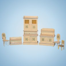 Old Doll Wood and Glass Dollhouse Miniature Set Furniture Hanging Shelf Cabinet Chairs Sideboard
