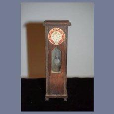 Old Doll Miniature Wood Grandfather Clock Dollhouse Glass Front Pendulum