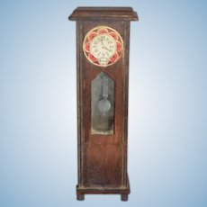 Old Doll Miniature Wood Grandfather Clock Dollhouse Glass Front Pendulum