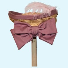 Sweet Doll Straw Hat Bonnet W/ Big Bow Feather Artist
