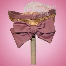 Sweet Doll Straw Hat Bonnet W/ Big Bow Feather Artist