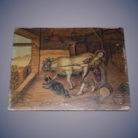 Old Painting on Wood Folk Art Signed Gilchrist Lady W/ Cow and Dog Bull Charming Miniature Milk Maid